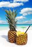Pineapple fruit and a cocktail Stock Images