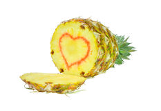 Pineapple fruit with a heart symbol Stock Image