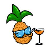 Pineapple fruit juice smiling sunglasses cartoon Stock Photography