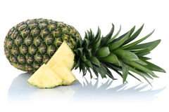 Pineapple fruit slice isolated on white Royalty Free Stock Images