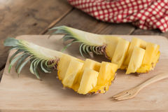 Pineapple fruit slice on wooden. Stock Photo