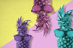 Pineapple fruit with sunglasses color summer art Royalty Free Stock Photography