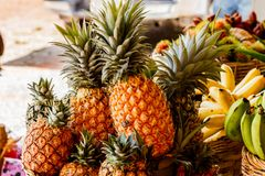 Pineapple fruit on wood table for sale. Royalty Free Stock Image