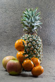 Pineapple fruits,apples and orange Royalty Free Stock Photography