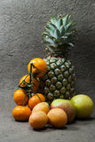Pineapple fruits,apples and orange Royalty Free Stock Photos