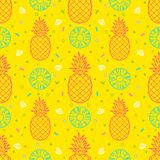 Pineapple fruits seamless pattern background vector format. Fresh pineapple tropical fruits seamless summer pattern background vector format for fabric or paper Royalty Free Stock Photos