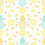 Pineapple fruits seamless pattern background vector format. Pineapple fruits seamless pattern or repeated pattern background vector format for fabric or wrapping royalty free illustration