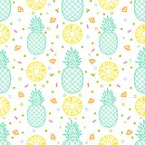 Pineapple fruits seamless pattern background vector format. For wrapping paper or packaging Stock Photos