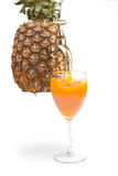 Pineapple with glass Royalty Free Stock Images