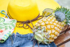 Pineapple Glasses or Sunglasses yellow big sun hat bikini and Sh Stock Photos