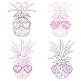 Pineapple with glasses tropical, vector, illustration, design, exotic, food, fruit Royalty Free Stock Photo