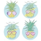 Pineapple with glasses tropical, vector, illustration, design, exotic, food, fruit Stock Images