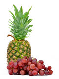 Pineapple and grape wine. On white background Stock Images
