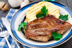 Pineapple grilled pork chop Stock Images