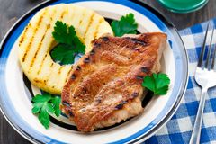 Pineapple grilled pork chop Stock Photo