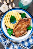 Pineapple grilled pork chop Royalty Free Stock Photography