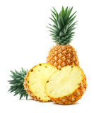 Pineapple and half pieces on white background stock photos