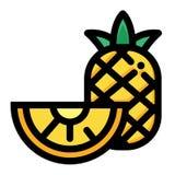 Pineapple half LineColor illustration stock illustration