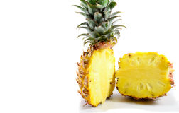 Pineapple In Halves. Close up of a bisected juicy pineapple Royalty Free Stock Images