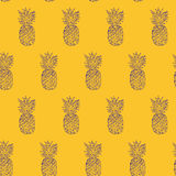 Pineapple Hand drawn sketch, grunge outline vector seamless pattern, sketch drawing illustration print. pop art style colorfull ba Stock Photography