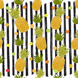 Pineapple hand drawn sketch striped Seamless Pattern. Vector Illustration. Royalty Free Stock Photo