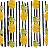 Pineapple hand drawn sketch striped Seamless Pattern. Vector Illustration. Stock Photo