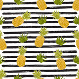 Pineapple hand drawn sketch striped Seamless Pattern. Vector Illustration. Stock Image