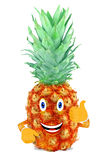 Pineapple with his face and hands Royalty Free Stock Photo