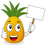 Pineapple Holding Banner with Thumbs Up Stock Photography