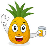 Pineapple Holding Fresh Squeezed Juice. A happy cartoon pineapple character smiling and holding a glass with a fresh squeezed juice, isolated on white background Stock Image