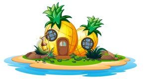 Pineapple house on island. Illustration Royalty Free Stock Image