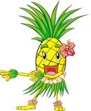 Pineapple Hula Dance. A colorful illustration of a pineapple that is wearing a Hawaiian costume and is hula dancing vector illustration