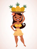Pineapple hula girl Royalty Free Stock Images