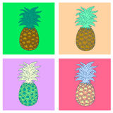 Pineapple illustration. Color funny Royalty Free Stock Photo