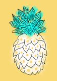 Pineapple illustration. Hand drawn pineapple on yellow background Royalty Free Illustration