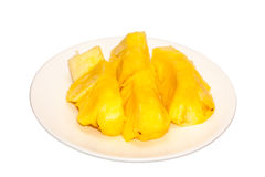Pineapple. Isolated many pieces of pineapple in white dish Royalty Free Stock Photos