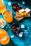 Pineapple jam, bread and cookies on the table side view Royalty Free Stock Image