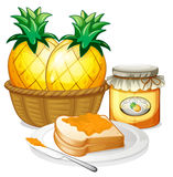 Pineapple, jam and sandwich Royalty Free Stock Photography