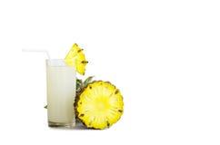 Pineapple juiсe and pineapple slice Stock Photos