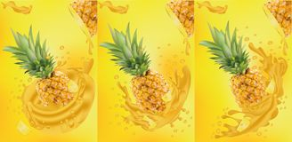 Pineapple juice close-up. Fresh pineapple juice. Splashes with pineapple. Vector graphics. Pineapple juice close-up. Fresh pineapple juice. Splashes with vector illustration