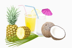 Pineapple juice and coconut milk with fruit stock images