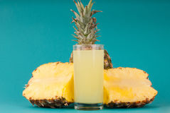 Pineapple Juice. Pineapple with a glass of pineapple juice Royalty Free Stock Photography