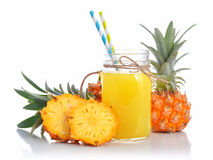 Pineapple juice in glass jar with handle Royalty Free Stock Photo