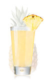 Pineapple juice in highball glass. Fresh pineapple juice in highball glass decorated with quarter pineapple slice over the pineapple this leaves Stock Photos
