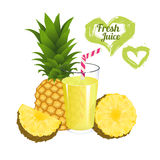 Pineapple juice isolated on white background. Glass of fresh ananas juice vector Royalty Free Stock Image
