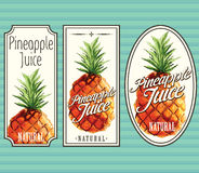 Pineapple juice labels set. For using in different spheres Royalty Free Stock Photos