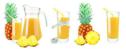 Pineapple juice, meter and fruit Royalty Free Stock Images