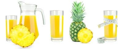 Pineapple juice, meter and fruit Stock Photos