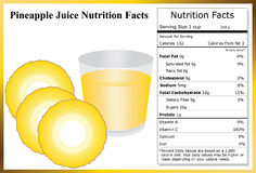 Pineapple Juice Nutrition Facts. Glass of pineapple juice with pineapple slices and a nutrition label Royalty Free Stock Photography