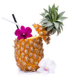 Pineapple juice with orchid in fresh fruits Royalty Free Stock Photography